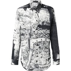 Alexander McQueen London Map shirt ($1,055) ❤ liked on Polyvore featuring men's fashion, men's clothing, men's shirts, men's casual shirts, black, mens casual long sleeve shirts, alexander mcqueen mens shirt, mens curved hem t shirt, mens tailored shirts and mens extra long sleeve shirts