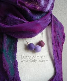 Flow of Imagination / Nuno Felt Art Scarf and matching necklace by Lucy Morar www.only-lu.com