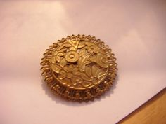 """Vintage goldtone round filigree effect brooch 1.5""""across in good condition Listing in the 1950s-1970s,Antique & Vintage,Jewellery & Watches Category on eBid United Kingdom"""