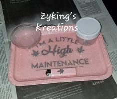 Glitter rolling tray with included accessories. (Lighter, jar, ashtray) Ashtray style will vary depending on availability. Glitter is sealed. Item is hand crafted so flaws are expected but kept to a minimum. There may even be specks of a different color glitter than the primary color. Primary Stoner Gifts, Pipes And Bongs, High Maintenance, Smoking Accessories, Cricut Creations, Smoking Weed, Little Gifts, Rolls, Tray