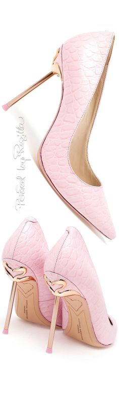 Sophia Webster ~ Pink Leather Pumps w Slim Metal Gold-tone Heels ❤️ Flamingos Pretty Shoes, Beautiful Shoes, Cute Shoes, Me Too Shoes, Shoe Boots, Shoes Heels, Leather Pumps, Pink Leather, Pink Shoes