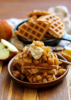 Grain-Free Waffles made with coconut flour + warmly-spiced apple topping and…