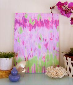 VIOLETTA abstracto sobre lienzo estirado 18 x 24 por annechovie