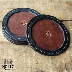 No. 5 Tavern Personalized Fine Leather Coaster Set - Handmade in America by Holtz Leather Co. - Perfect gift for the holidays.