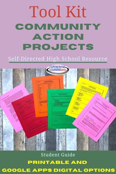 This tool kit provides all of the guiding materials for self-directed community action projects for high school students. These projects combine the principles of project-based learning, problem-based learning, and service-learning. They help learners gain content knowledge in addition to building essential 21st-century skills. #highschoolactivities #highschoolsocialstudies High School Activities, School Resources, Learning Resources, Problem Based Learning, Project Based Learning, Student Guide, Experiential Learning, Service Learning, 21st Century Skills