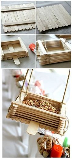 Super Simple DIY Bird Feeders For Spring! Lolly Pop Stick DIY Bird Feeder - A really quick and easy DIY project idea! Perfect crafts idea for kids.Lolly Pop Stick DIY Bird Feeder - A really quick and easy DIY project idea! Perfect crafts idea for kids. Kids Crafts, Craft Stick Crafts, Craft Ideas, Diy Ideas, Garden Crafts For Kids, Project Ideas, Resin Crafts, Lollypop Stick Craft, Creative Crafts