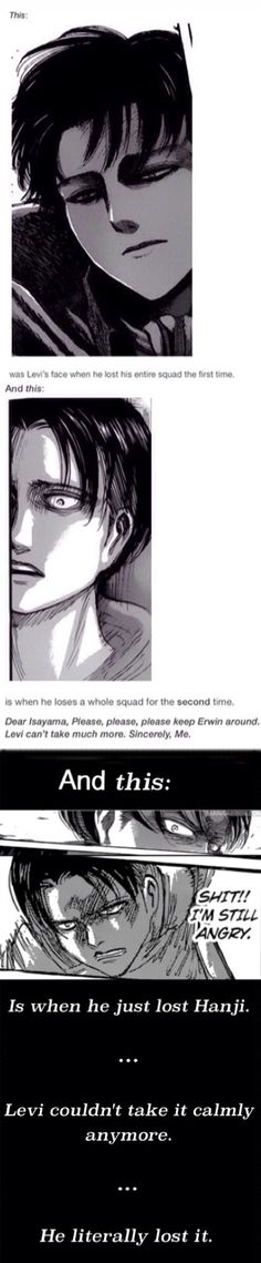 """Look at the bottom! """"And this is when He just lost Hanji... He couldn't take it calmly anymore... He literally lost it.""""    Attack on Titan    Shingeki no Kyojin    Levi (Rivaille) Ackerman    Hanji Zoe    Levi x Hanji"""
