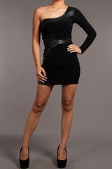 Beautiful Lie - Black One-Sleeved Sexy Bodycon Mini Dress  Find this at Dress World: one of the web's top online shop for trendy clubbin styles, fashionable party dress and bar wear, super hot clubbing clothing, partying clothes, super cute and sexy club fashions.  MADE IN USA