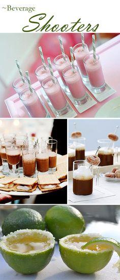 Strawberry Milkshake, Chocolate Milkshake and S'Mores, Hot Chocolate and Mini Donuts and Margarita Shots in Lime Shooters.   - love the hot chocolate