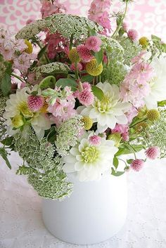 Dahlias, delphinium, queen anne's lace, etc... Pretty Arrangement
