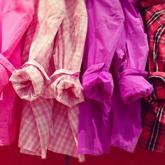 Weekend essential: Our fitted boyfriend shirt in a palette of plaids and pinks.
