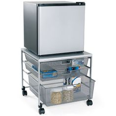 The Container Store > Platinum elfa Mesh Compact Fridge Cart. This is pretty cool and saves room! College Dorm Storage, Dorm Room Organization, College Dorm Rooms, College Closet, College Apartments, Studio Apartments, Small Apartments, Organization Ideas, Small Spaces