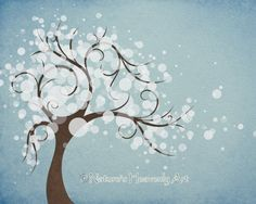 Sky Blue Watercolor Art Winter Tree Art Print 8 x 10, White Abstract Tree Print Wall Decor, Nature Home Decorating on Etsy, $14.00