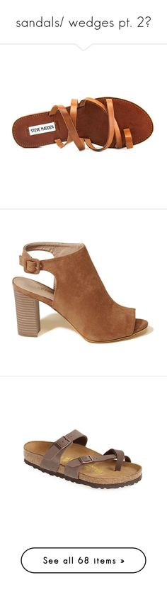 """""""sandals/ wedges pt. 2✨"""" by mysquadtoowavy ❤ liked on Polyvore featuring shoes, sandals, leather footwear, real leather shoes, slide sandals, cognac shoes, genuine leather shoes, heels, brown and wedge sandals"""