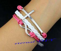 Mei red wax rope infinity and cross bracelet by eternalDIY on Etsy, $4.99