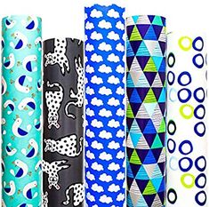 Amazon.com: Wrapping Paper 5 Roll 30 Inch X 10Feet Per Roll Design for Birthday Mother Day Valentines Day Wedding Baby Shower Blue Clouds Gull Cat Leopard Rings Triangles: Health & Personal Care Creative Gift Wrapping, Gift Wrapping Paper, Creative Gifts, Christmas Cactus, Diy Christmas, Valentines Day Weddings, Blue Clouds, Christmas Wrapping, Wedding Day