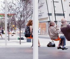 pop up swings at bus stops in london! making waiting a little easier. designed by bruno taylor. photo via sustainable cities collective. // The Accessible City