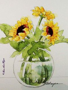 sunflowers. watercolor
