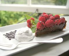 Sinless Vegan Chocolate Raspberry Tart