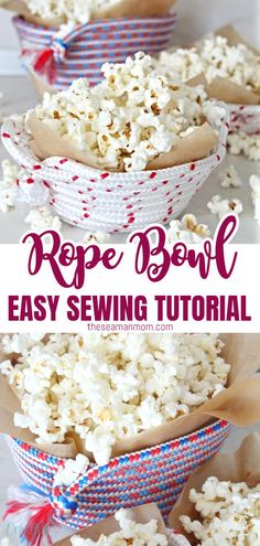 Turn the humble rope into a beautiful, handy rope bowl! This easy and enjoyable tutorial will show you how to sew a bunch of rope bowls in just a few minutes! #easypeasycreativeideas #sewing #sewingtutorials #sewingprojects #sewingideas #sewingforbeginners Easy Sewing Projects, Sewing Projects For Beginners, Sewing Tutorials, Sewing Patterns Free, Free Sewing, New Things To Try, Learn To Sew, Easy Peasy, Bowls