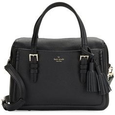 Kate Spade New York Pebbled Leather Briefcase ($398) ❤ liked on Polyvore featuring bags, briefcases and black