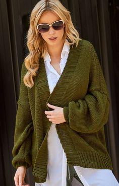 Makadamia S78 sweter khaki Doskonały kardigan damski będzie idealna propozycją na każdą porę roku, luźny fason wygląda świetnie na każdej sylwetce, szerokie rękawy Fashion, Moda, Fashion Styles, Fasion