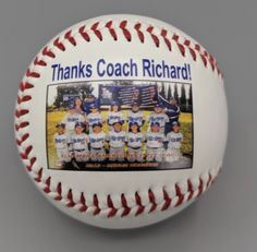 What a fantastic way to thank the coach for a great season! Plus, there's plenty of room for signatures! Baseball Gifts, Sports Gifts, Baseball Mom, Baseball Players, Softball, Team Mom, Coach Gifts, Personalized Gifts, Room