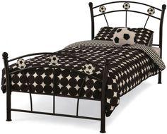 Serene Soccer Black Metal Bed - 3ft Single