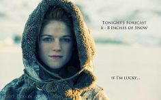 Tonight's forecast - 6-8 inches of snow... if she's lucky ;)  Ygritte - Game of Thrones