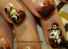 "Nail-art by Robin Moses: ""fall thanksgiving autumn nail art"" ""autumn leaves nail art"" ""snoopy and woodstock pilgrim nail art"" ""pilgrim nail art"" ""thanksgiving nail art"" ""cute thanksgiving nails"" ""thanksgiving nail designs"" ""fall nail designs"" ""fall nails"" Thanksgiving Nail Designs, Holiday Nail Designs, Thanksgiving Nails, Holiday Nail Art, Fall Nail Art, Thanksgiving Snoopy, Robin Moses, Nail Art Designs, Nails Design"