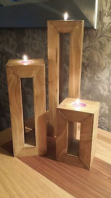 Trio of hand made chunky tea light candle holders from recycled timber