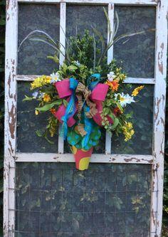 Matching wreaths for double doors,Door Cone, Wall sconce, Spring door ,Summer Wreath,  Front Door Wreath,Whimsical Wreath, Everyday Wreath