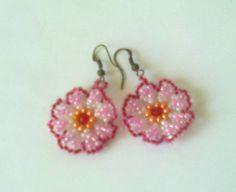 Beaded earrings / Cherry blossom beadwork by CristinaMyCrochet
