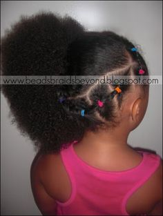 connected ponies into side puff #beadsbraidsandbeyond #bbb #black #hair #child #girl #hairstyles #natural