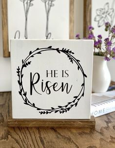He is Risen-Shelf Sitter – Saralita Designs He Is Risen Sign, Painted Mantle, Handmade Signs, Pallet Crafts, Spring Has Sprung, Easter Crafts, Happy Easter, Note Cards, Card Making