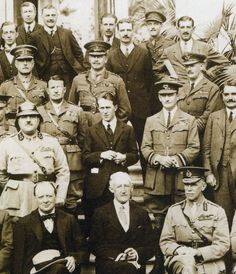 """T.E. Lawrence with Winston Churchill and the """"forty thieves"""" who decided the fate of the Middle East in 1921."""