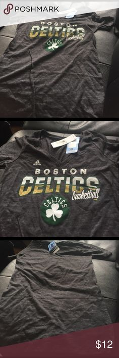 Women's NWT size M gray Celtics 🍀 basketball tee Women's NWT size M gray Celtics 🍀 basketball tee 50% Polyester 37% cotton 13% Rayon Adidas Tops Tees - Short Sleeve