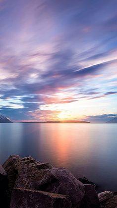 beautiful sunset reflection #sky lake sea stone blue