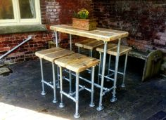 breakfast bar and scaffold stools.