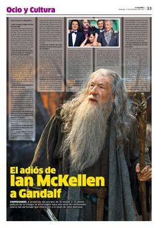 Diseño Editorial / Diagrmación / La República / Lima / Perú / Espectáculos / Ocio y Cultura / Diseño / El Hobbit / Cine / Desing / Entretenimiento / La Batalla de los Cinco Ejércitos / Movie / Bilbo / Gandalf / El Señor de los Anillos / Ian McKellen / Entrevista / Sir Ian McKellen