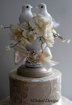 Wedding Cake Topper & Display: Ivory and White Rustic or Elegant Garden Finial and Dove Pair Reception Cake or Gift Table - via Etsy.