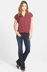 Pleione Wrap Front Blouse & KUT from the Kloth 'Chrissy' Flare Leg Jeans