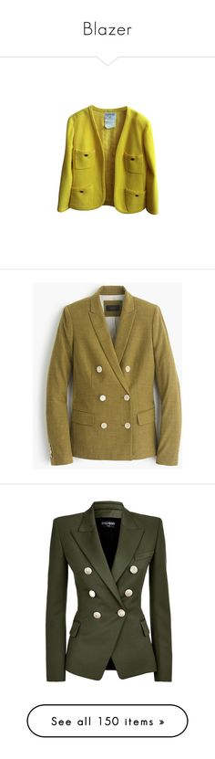 """Blazer"" by ceci-alva ❤ liked on Polyvore featuring outerwear, jackets, blazers, blazer, yellow, chanel, chanel jacket, yellow blazer jacket, yellow blazer and silk jacket"