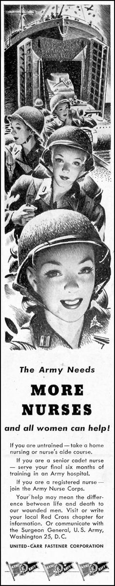The Army needs more nurses and all women can help! Saturday Evening Post, 5/19/1945 ~