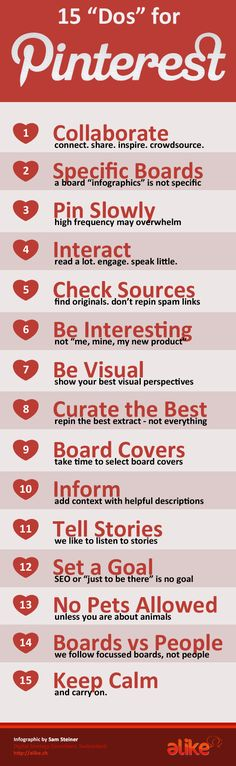 15 Do's for #Pinterest #infographic I have students using pinterest and I'm going to share this with them.