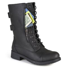 online shopping for Journee Collection Womens Buckle Pocket Lace-up Combat Boots from top store. See new offer for Journee Collection Womens Buckle Pocket Lace-up Combat Boots Outfit Botas Negras, Leather And Lace, Black Leather, Leather Boots, Fur Boots, Festival Boots, Lace Up Combat Boots, Calf Boots, Buckle Boots