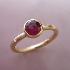 14k Gold Rose Cut Ruby Engagement Ring by esdesigns on Etsy, $345.00