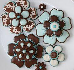 Teal. Brown. Flowers. Cookies.  YES!