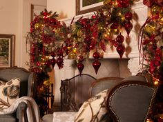 Suzy q, better decorating bible, ideas, how to, Christmas, décor, theme, gold, red, garland, ornaments, leaves, mantel, living room, stair case, banister, wrap around, ribbons