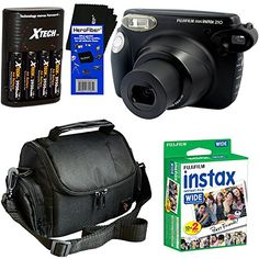 Fujifilm instax 210 WideFormat Instant Photo Film Camera Black  Fujifilm instax Wide Instant Film Twin Pack 20 sheets  4 AA High Capacity Rechargeable Batteries with Battery Charger  Camera Case  HeroFiber Ultra Gentle Cleaning Cloth >>> You can find out more details at the link of the image.